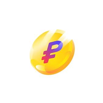 Logo, ícone de moeda com um sinal de rublo