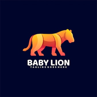 logo illustration baby lion gradient colorful style.