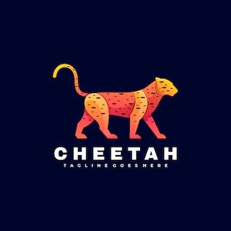 Logo illustration cheetah gradient colorful style.