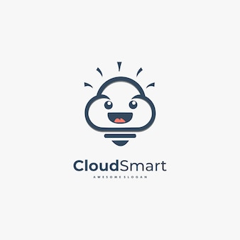 Logo illustration cloud smart desenhos animados bonitos.