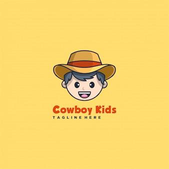 Logo illustration cowboy face cute cartoon.