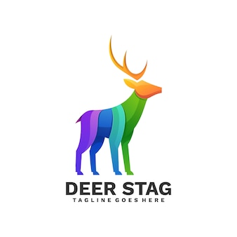 Logo illustration deer stag gradient colorful style.