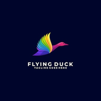 Logo illustration duck flying gradient colorful style.