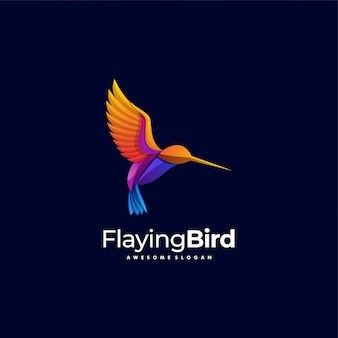 Logo illustration flaying bird gradient colorful style.
