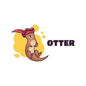 Logo illustration otter simple mascot style.