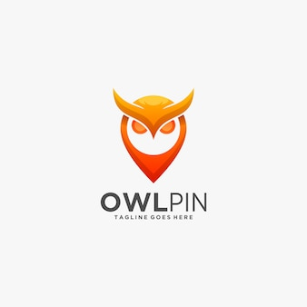 Logo illustration owl e pin gradient colorful style.