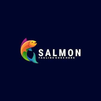 Logo illustration salmon gradient colorful style.