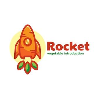 Logo ilustração cenoura foguete estilo simples mascote.
