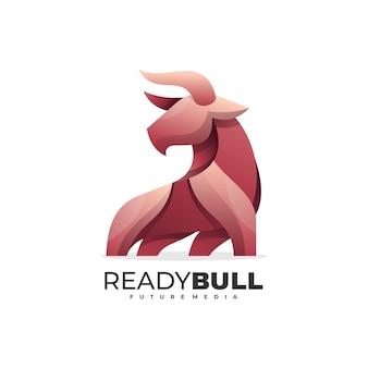 Logo ilustração pronto bull gradient estilo colorido.