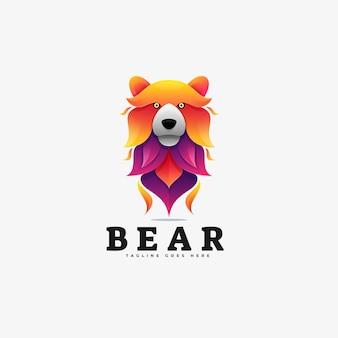 Logo ilustração urso gradiente estilo colorido.