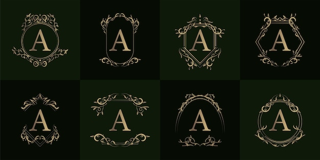 Logo inicial a com ornamento de luxo ou moldura de flor, coleção definida.