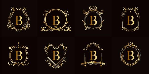 Logo inicial b com ornamento de luxo ou moldura de flor, coleção definida.