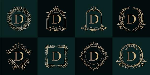 Logo inicial d com ornamento de luxo ou moldura de flor, coleção definida.
