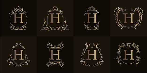 Logo inicial h com ornamento de luxo ou moldura de flor, conjunto de coleção