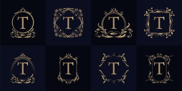 Logo inicial t com ornamento de luxo ou moldura de flor, coleção definida.