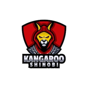 Logo kangaroo e esporte e estilo esportivo.