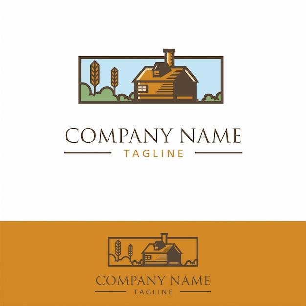 Logo lodge em mountain view simple vintage
