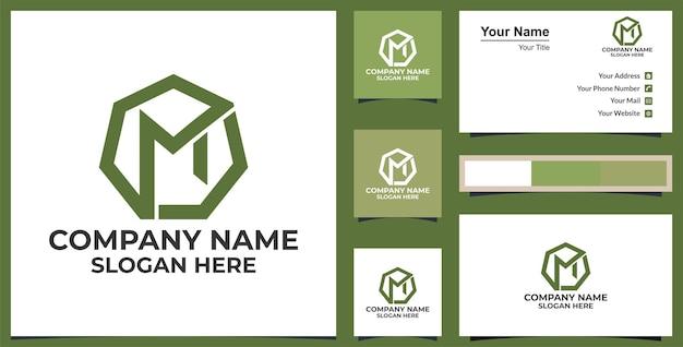 Logo m hexágono logo design premium vector