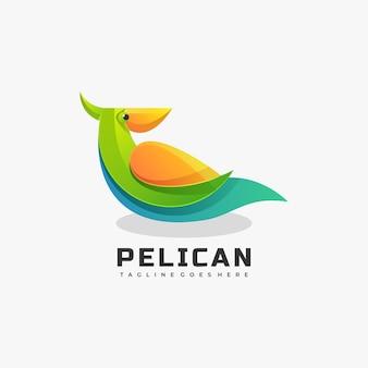 Logo mascot pelican gradient estilo colorido.