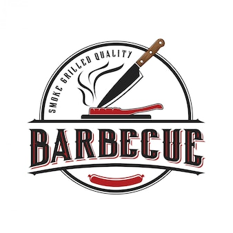 Logo para um restaurante de churrasco com um estilo vintage
