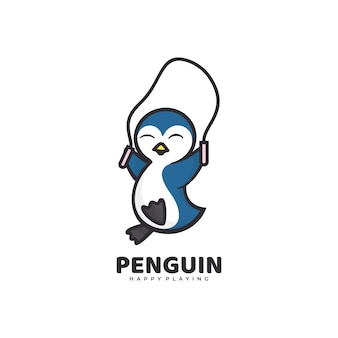Logo penguin academias estilo simples mascote.