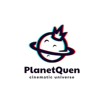Logo planet queen silhouette style