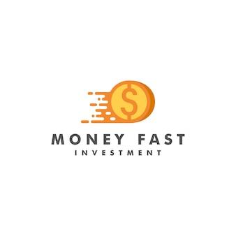Logo rápido de dinheiro Vetor Premium