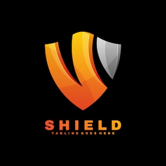 Logo shield gradient colorful style.