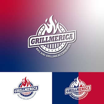 Logo template bbq grill