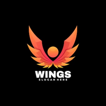 Logo wings gradient colorful style