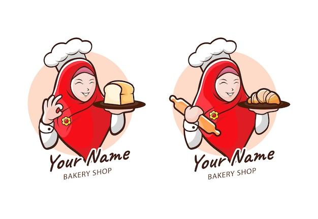 Logomarca para confeitaria com a garota hijab como mascote