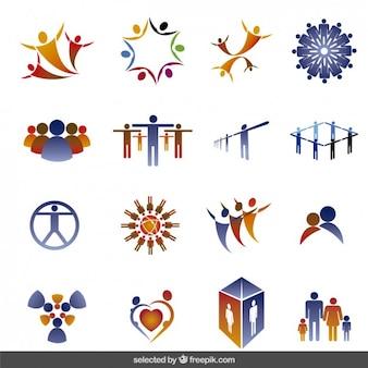 Logos coleção feita com silhuetas de pessoas