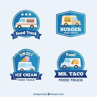 Logos de caminhão de comida plana com estilo clássico