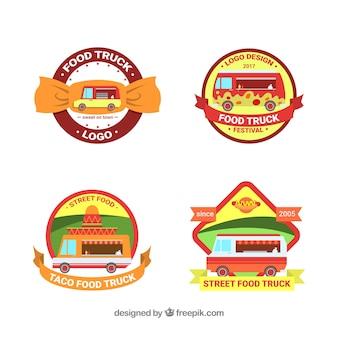 Logos de caminhão de comida plana com estilo divertido