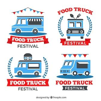 Logos de caminhão de comida plana com fitas