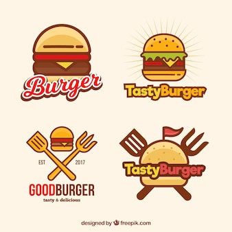 Logos de hambúrguer em estilo linear