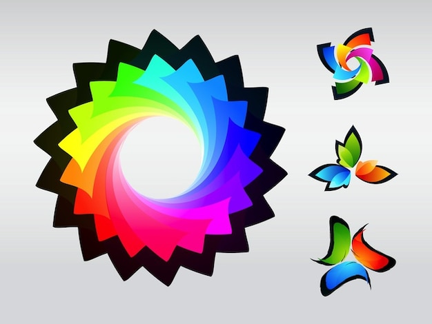 Logos de marcas de cartões coloridos de negócios