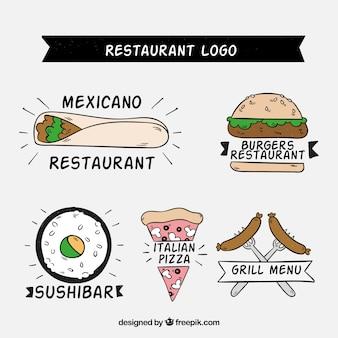 Logos de restaurantes desenhados à mão com variedade de alimentos