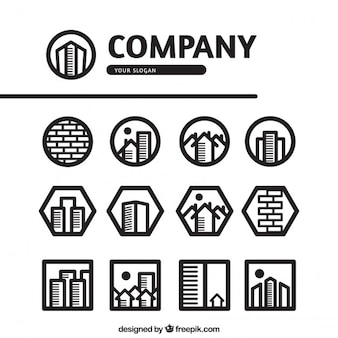 Logos imobiliário dentro formas geométricas