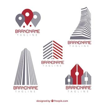 Logos imobiliários em design plano