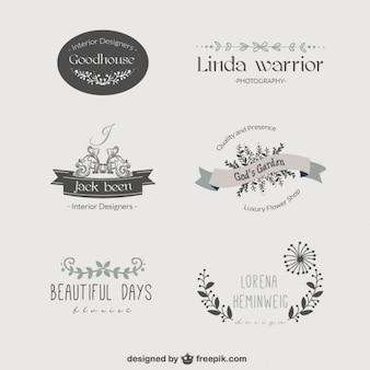 Logos modelo florais do vintage