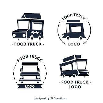 Logos modernos de caminhões de alimentos com caminhão