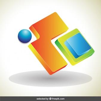 Logotipo 3d abstrato colorido