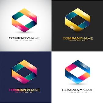 Logotipo 3d abstrato modelo para sua marca de empresa