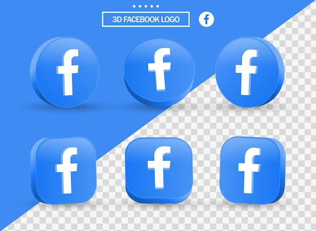 Logotipo 3d do facebook em estilo moderno, círculo e quadrado para logotipos de ícones de mídia social