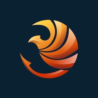 Logotipo 3d moderno de phoenix