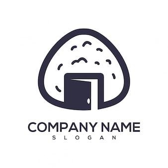 Logotipo aberto de bola de arroz