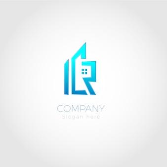 Logotipo abstrato azul de imóveis
