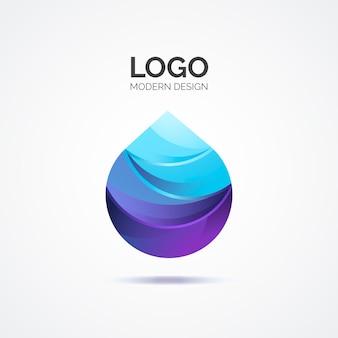 Logotipo abstrato azul em design moderno