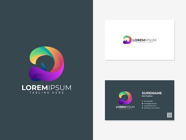 Logotipo abstrato colorido com modelo de cartão